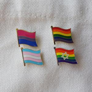 Image 3 - ゲイプライドレインボースターバイセクシャルトランスジェンダー旗ラペルピンバッジエナメルバッジブローチジーンズシャツクールギフト (900 ピース/ロット)