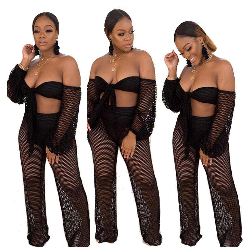4-Color Europe And America INS Online Celebrity Hot Selling Europe And America WOMEN'S Dress Sexy Horizontal Neck Loose Pants Tw