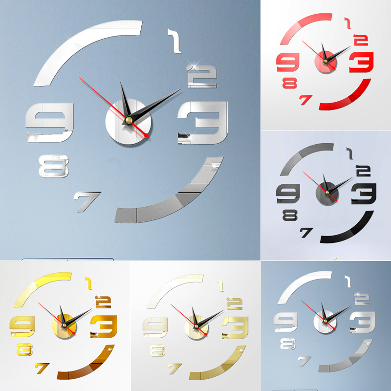 Modern Diy Large Wall Clock 3d Mirror Surface Sticker Big Number Watch Decor 2020 Newest Solid Color Home Decor Unique Gift Diy Wall Clocks Aliexpress