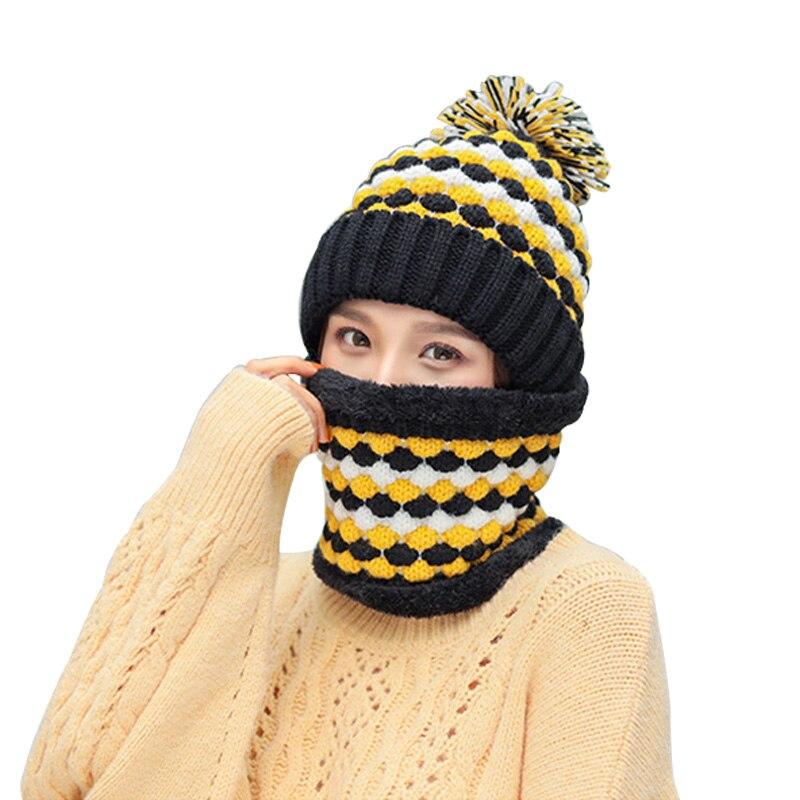 Autumn Winter New Hat Scarf 2/set Plus Velvet Hats For Women Warm Knitted Pompom Cap Women's Cute Snood Ladies Lic Collar Scarfs