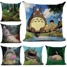 Housse de coussin à dessin animé Totoro, taie d'oreiller, décoration de la maison, salon, canapé, voiture, 45x45cm