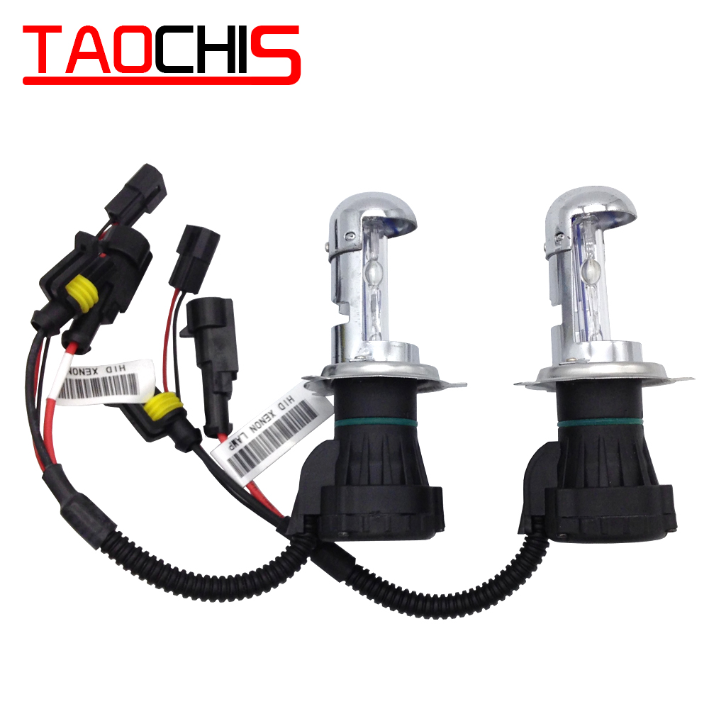 TAOCHIS 12v 55w Car HID Headlight H4-3 Bi-Xenon Hi/Lo Replacement Bulbs 43000k 6000k 8000k Head Lamps Telescopic Lights