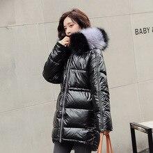 Куртка RICORIT Женская длинная, пуховик с длинным рукавом, утепленный меховой воротник, с капюшоном, верхняя одежда, блестящее пальто