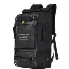 Black leather travel backpacks lagre waterproof Tactical Multi-Function women/men bags 2020 fashion style