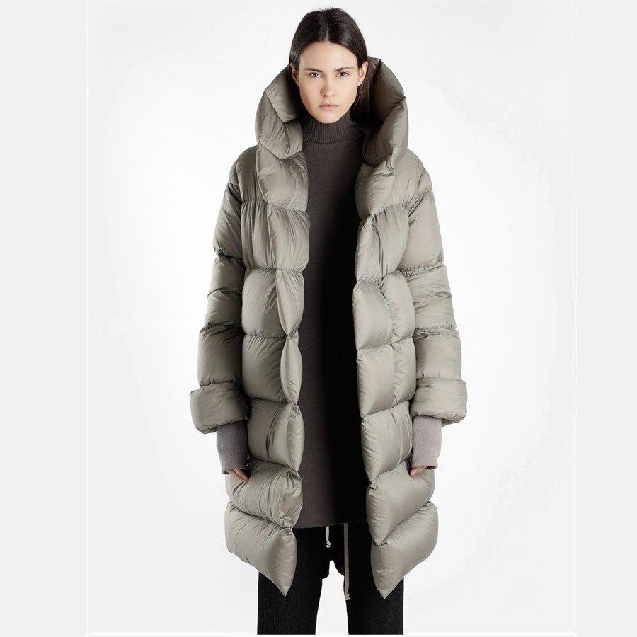 Nueva moda mullido ganso abajo caliente gran tamaño abajo parkas abrigo femenino invierno abrigos pan estilo con capucha chaquetas más largas calientes wq2592