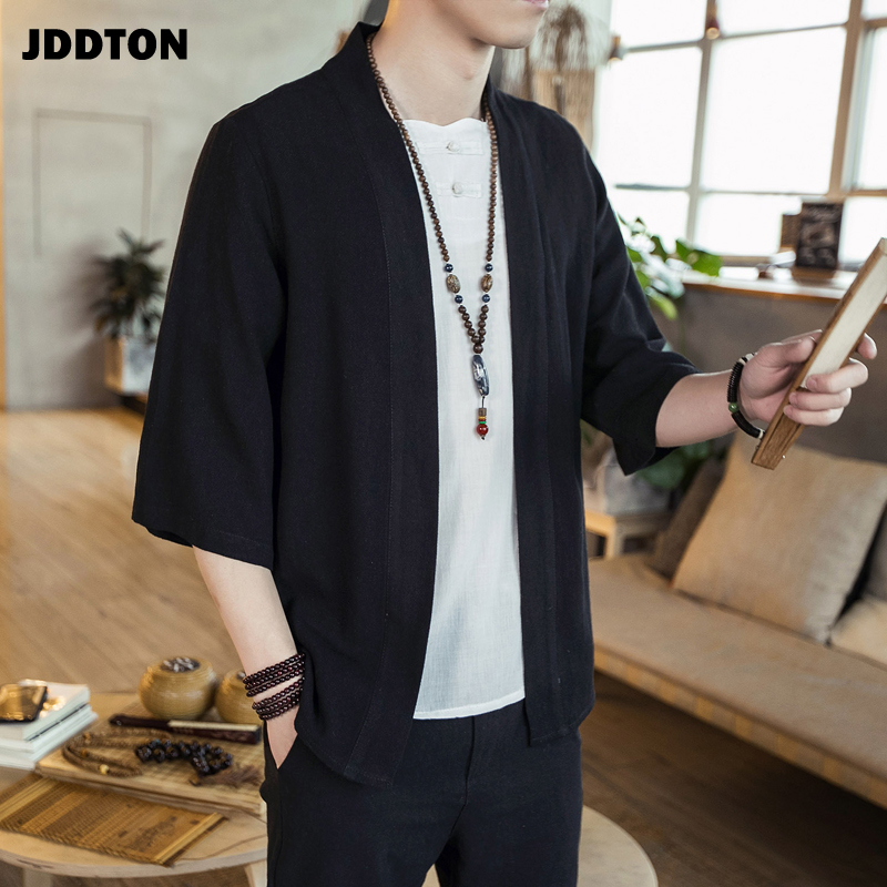 JDDTON Men's Cotton Kimono Fashion Loose Cardigan Solid Slim Outerwear Vintage Chinese Style Male Jackets Casual Overcoats JE125(China)