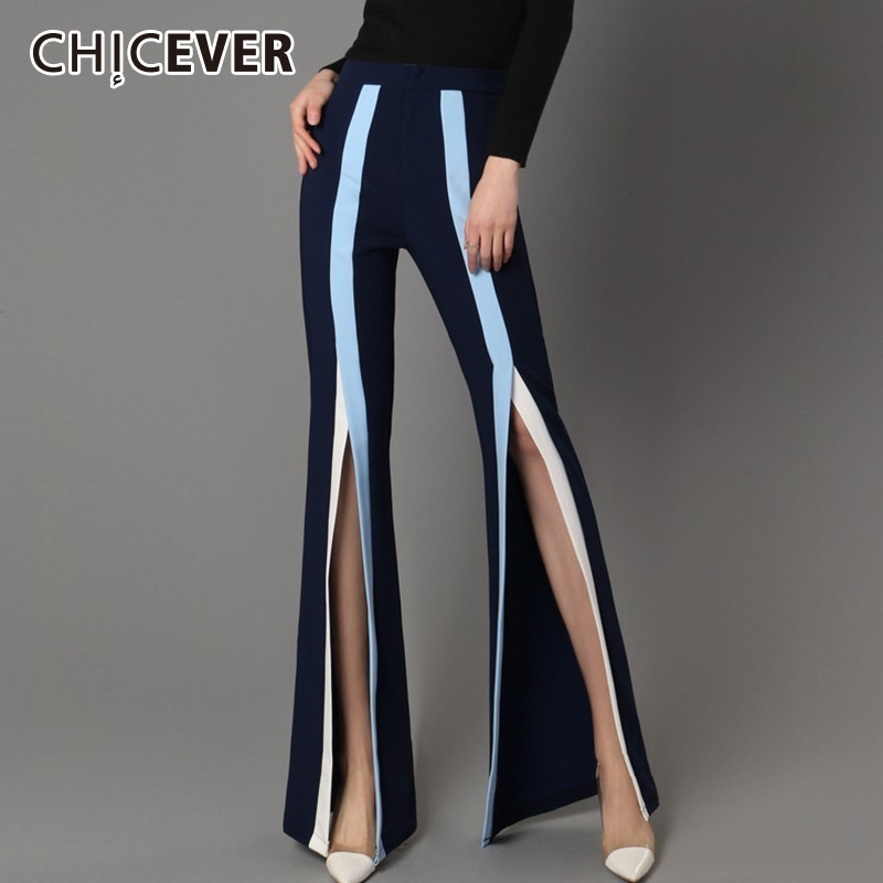 CHICEVER Striped Pants For Women Elastic High Waist Hem Split Hit Colors Chiffon Women's Flare Pants Female 2020 Spring Clothes