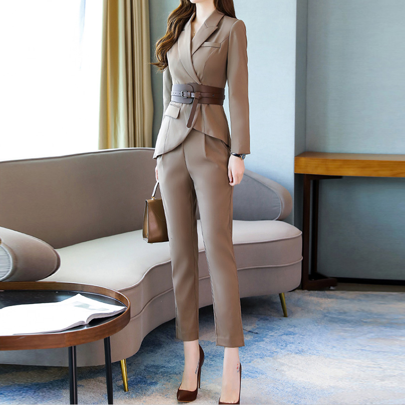New Spring Autumn Fashion Work Women's Business Pants Suits Irregular Blazer With Belt Pants Suits For Women 2 Pieces Set