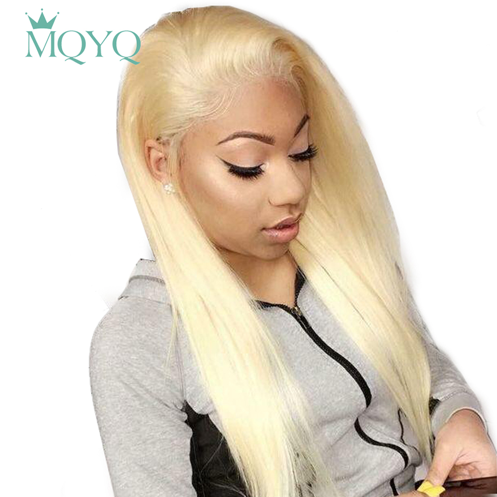 MQYQ 613 Lace Frontal Human Hair Wigs Brazilian Hair Straight Human Hair Wigs Blondes Non-Remy Hair 13*4 Lace Frontal Wig