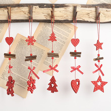 2020 Xmas New Year DIY Christmas items Wooden Crafts Red Hanging Strip Ornaments Holiday Party Decorations for Home