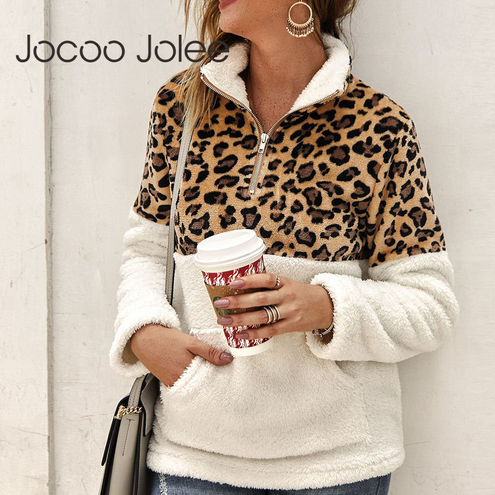Jocoo Jolee Women Winter Leopard Patchwork Fleece Hoodies Turtleneck Zipper Sweatshirts Fluffy Thick Warm Pullover Outwear 2019