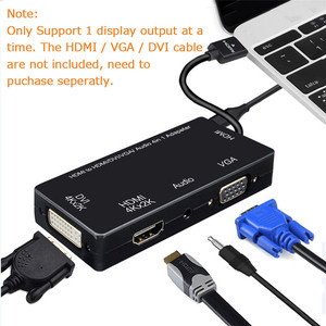 Image 2 - مقسم الوصلات البينية متعددة الوسائط وعالية الوضوح (HDMI) إلى HDMI DVI VGA محول صوت الذهب مطلي جاك 4K ل كمبيوتر محمول HDTV PS3 متعدد المنافذ 4  في 1 محول HDMI
