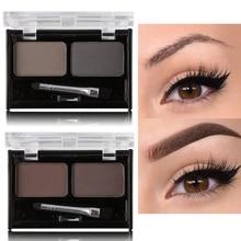 Marque Double couleur sourcil poudre maquillage Palette naturel brun sourcils rehausseurs 3D sourcils ombre gâteau beauté Kit avec brosse