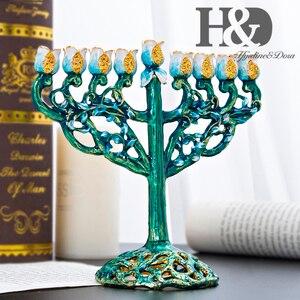 Image 2 - H & D 5 phong cách Hanukkah Vẽ Tay Men Menorah Không Gỉ Candino Chanukah Đền Chân Nến 9 Chi Nhánh Ngôi Sao David Nến giá đỡ
