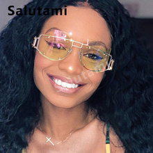 Hollow Out Frame Rivet Brand Sunglasses For Women And Men 2019 Ins Luxury Square Sun Glasses Yellow Pink  Alloy Eyewear Female цена
