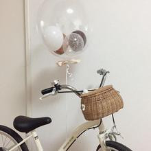 Cesta de bicicleta Vintage hecha a mano, bolsa organizadora colgante de mimbre para bicicleta, mochila de almacenamiento de paja, decoración nórdica para habitación de niñas y niños