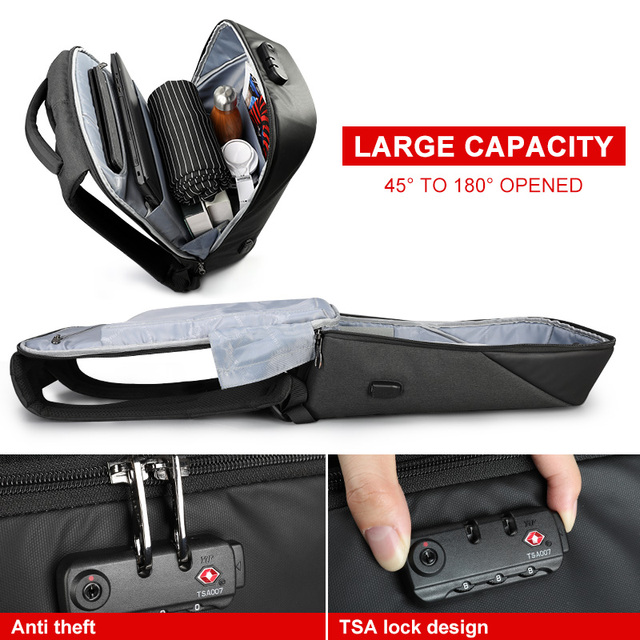 No Key Anti theft TSA Lock Fashion Men Backpacks 15.6inch USB   3