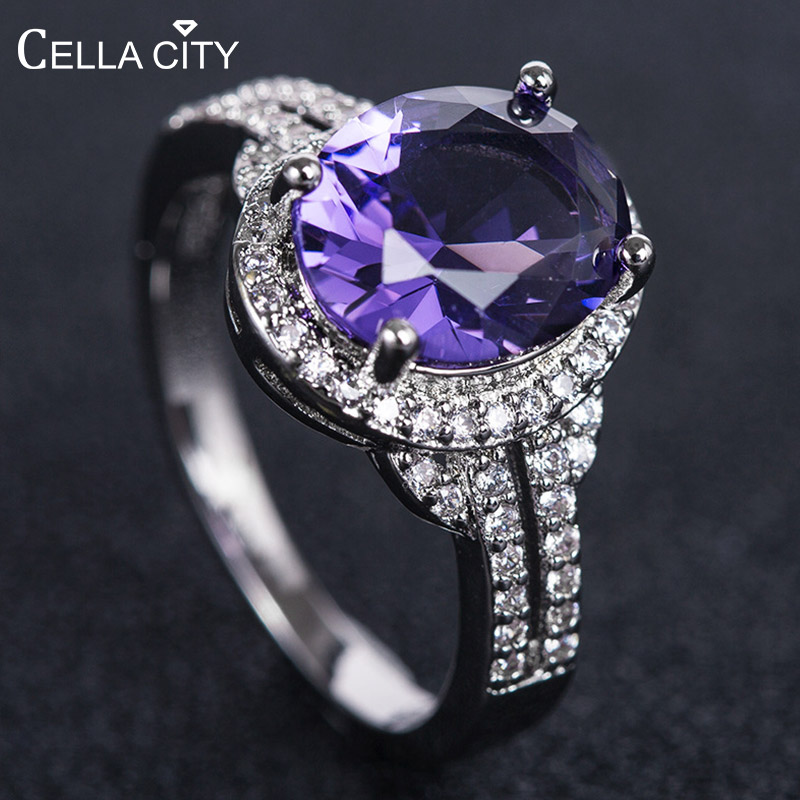 Cellacity Silver 925  Ring For Women With Oval Amethyst Gemstone Silver Women Fine Jewelry  Engagement Gift Wholesale Size 6-10