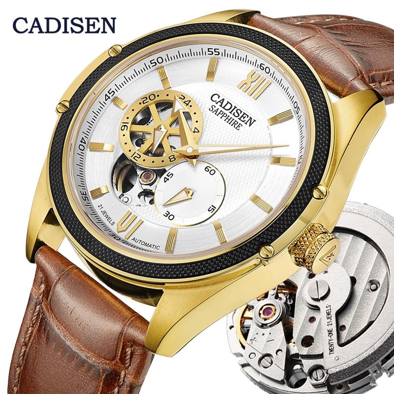 CADISEN Skeleton Tourbillon Mechanical Watch Men MIYOTA 82S7 Automatic Classic Gold Leather Sapphire Wrist Watches Reloj Hombre