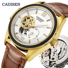 CADISEN Skeleton Tourbillon Mechanical Watch Men MIYOTA 82S7 Automatic Classic Gold Leather Sapphire Wrist Watches Reloj Hombre цена и фото