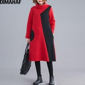 Image 3 - DIMANAF 女性のドレスヴィンテージ長袖冬秋厚い綿の女性ゆるいカジュアルな女性の Vestidos タートルネックパッチワークドレス