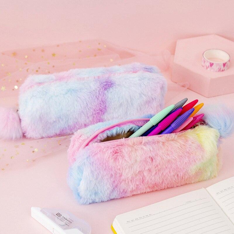 Kawaii Creative Pencil Case Gradient Color Cute Girl Plush Octagonal Pen Bag Girl Student Simple Storage Bag Stationery
