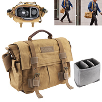 Vintage SLR Photo Camera Single Shoulder Bag Photo Video Soft Canvas Pack Bag Travel Camera Protective Case for Canon/Nikon/Sony
