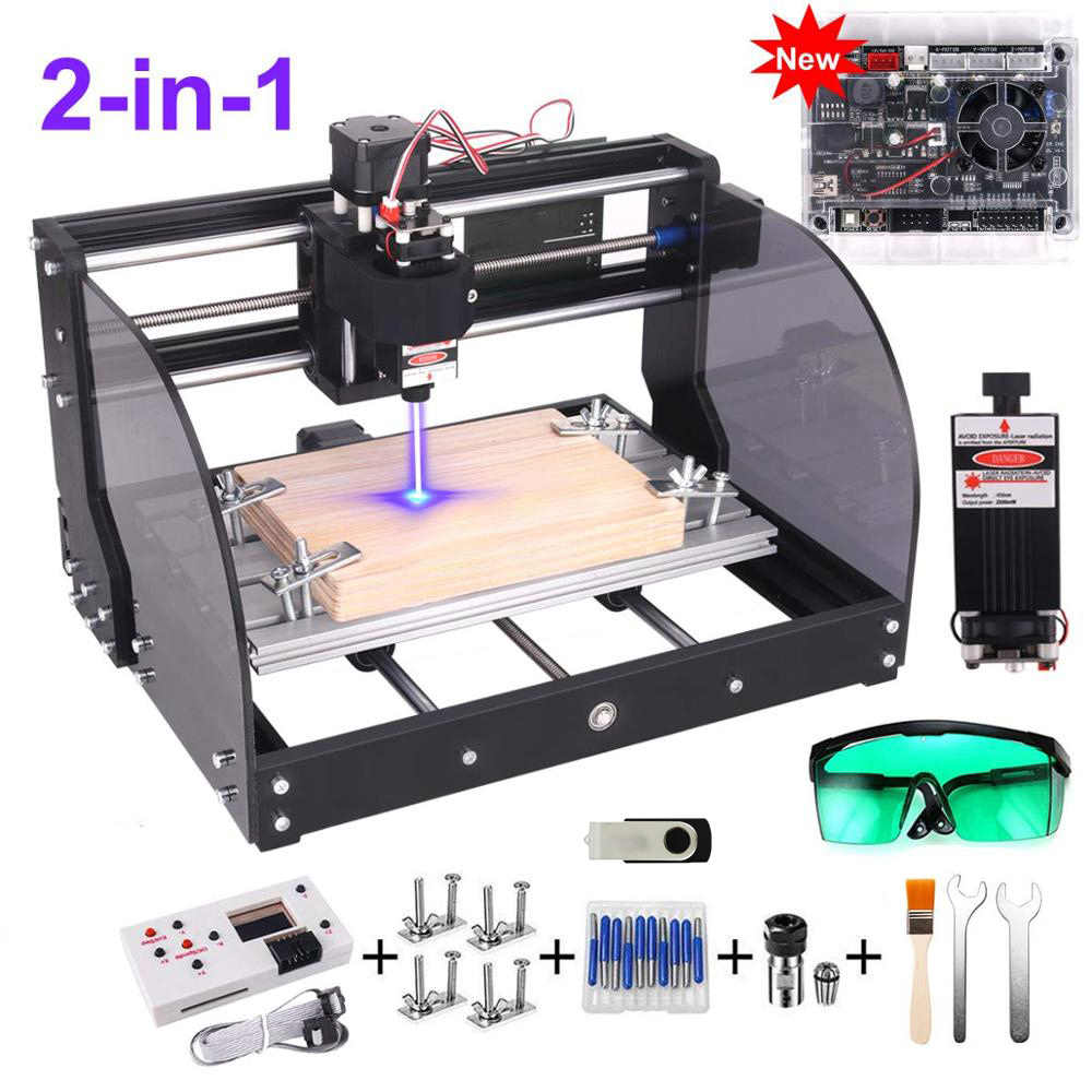 3Axis CNC 3018PRO Router 2 in 1 Kit DIY Laser Milling Engraver Machine w// ER11