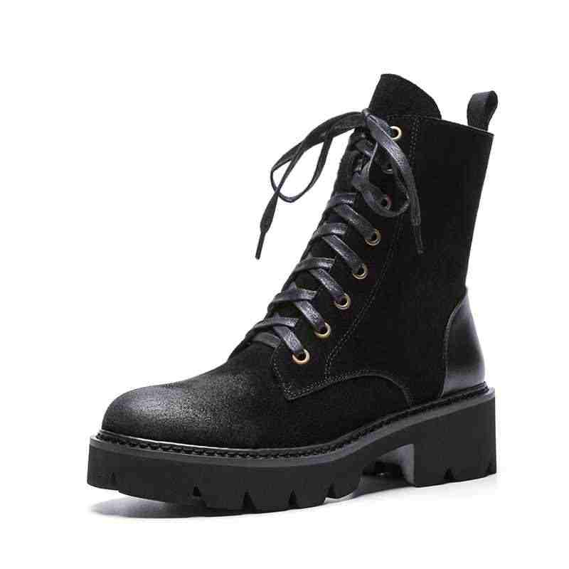 Lenkisen vintage สไตล์วัว suede รอบ toe ส้นหนาด้านล่างแพลตฟอร์ม lace up winter keep warm ผู้หญิงข้อเท้ารองเท้า L15