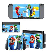 Switch Mario Sticker Protector Wrap Skin Decal for Nintendo Switch Full Set Faceplate Protective  Stickers Console Joy-Con Dock