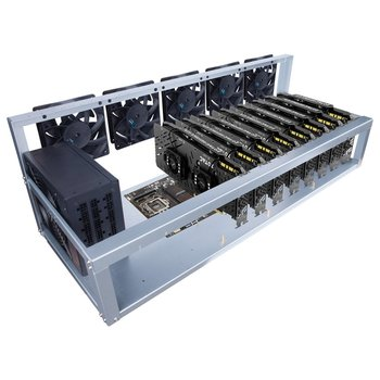 цена на 8 Graphics Card GPU Mining Machine Frame With 5 Cooling Fans USB PCI-E Cable Computer BTC LTC Coin Miner Server Case