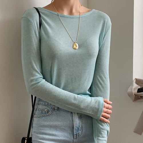 New Spring Top Sexy T Shirt Women Elasticity T-Shirt Summer Tee Woman Clothes Slim Tshirt Female Skinny  Cotton Long Sleeve Tops 4