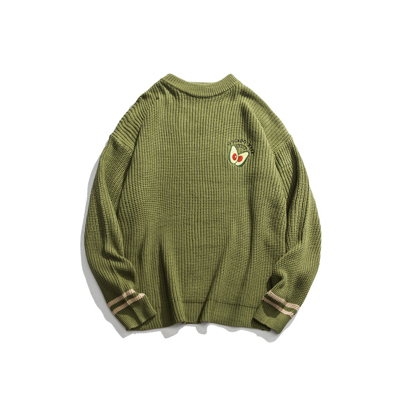 Japanese Harajuku Knitted Embroidery Avocado Sweater For Men And Women Streetwear Hip Hop Maluma Hass Avocado Pullover Jumper