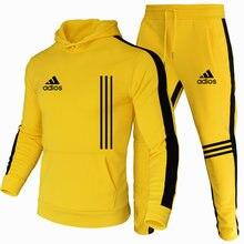 New men's suits, stylish men's sportswear track suits, men's autumn and winter hoodies + sweat pants, two-piece jogging suit S-3