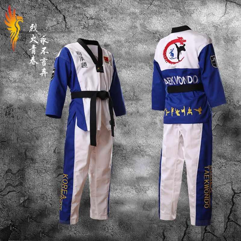 Dobby Fabric Taekwondo Poomsae Uniform EMB Back WTF Childrens Kids Adults Suits