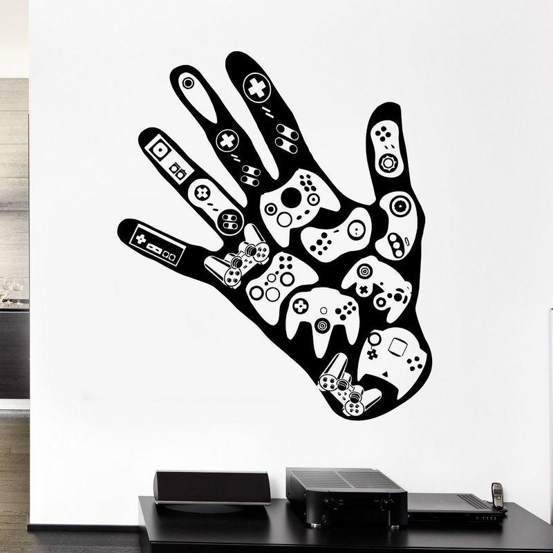 Джойстик геймер настенные фрески виниловые наклейки декор игровые зоны ручной