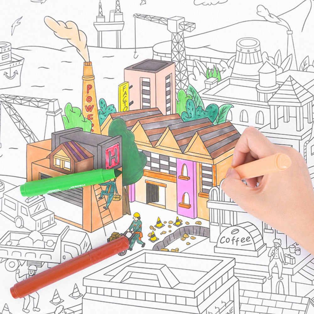10m Besar Mewarnai Poster Super Pelukis Kertas Gambar Raksasa Meja Kertas Papan Doodle Mainan Kertas Anak Laki Laki Anak Perempuan Hadiah Ulang Tahun Menggambar Mainan Aliexpress