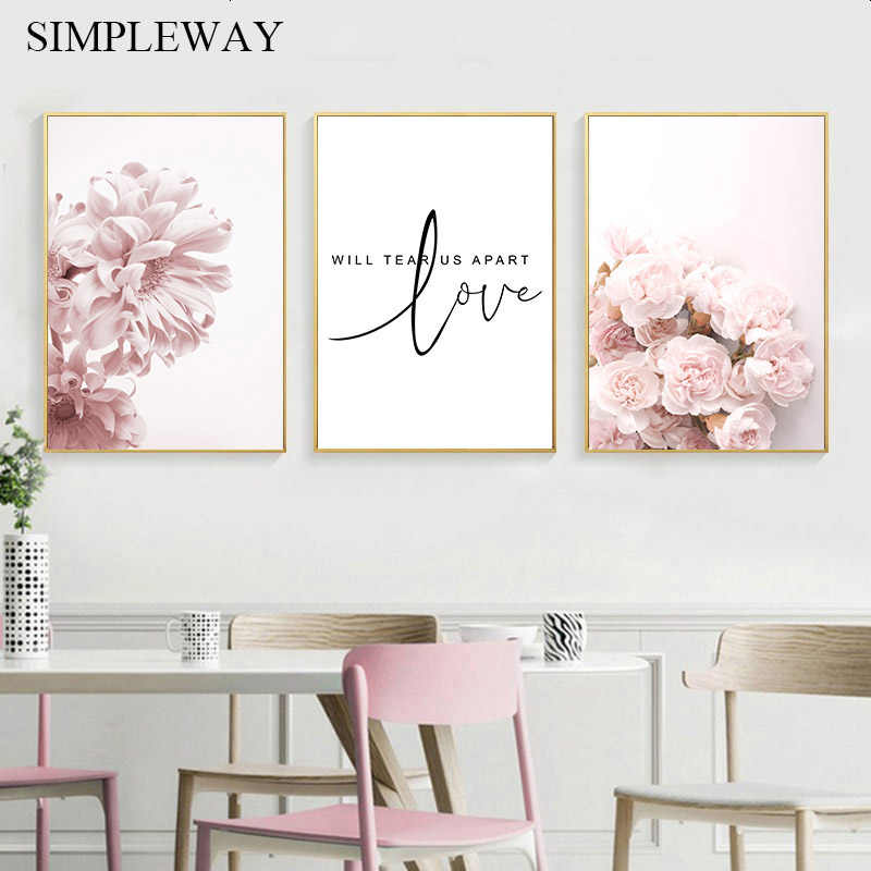 Pink Carnation Flower Plant Poster Nordic Art Canvas Botanical Print Love Quotes Wall Painting Scandinavian Decoration Picture