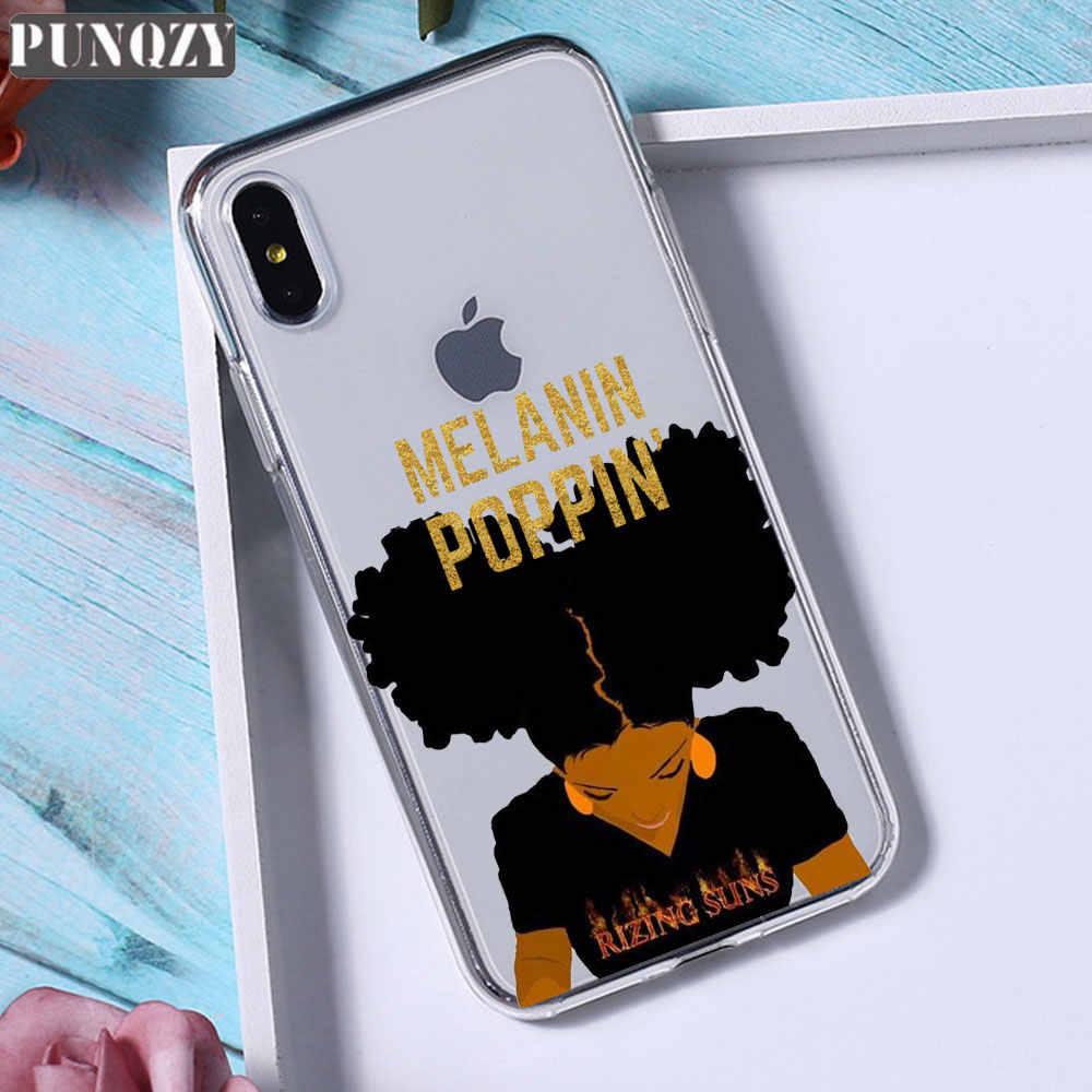 アフロ黒少女魔法メラニンポッピン電話ケース iphone 11 プロマックス 5 s 6 6s 8 7 tpu iphone × xr xs 最大