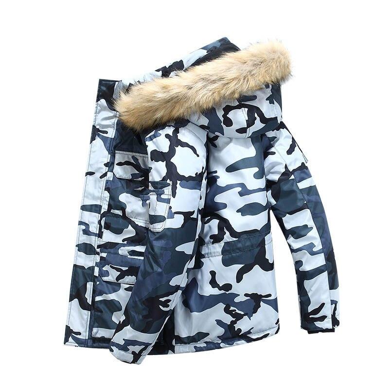 - 20 Degree Camouflage Winter Jacket Men Down Parkas Coat Male Fashion Hooded Fur Collar Keep Warm Windbreaker Down Coat Men