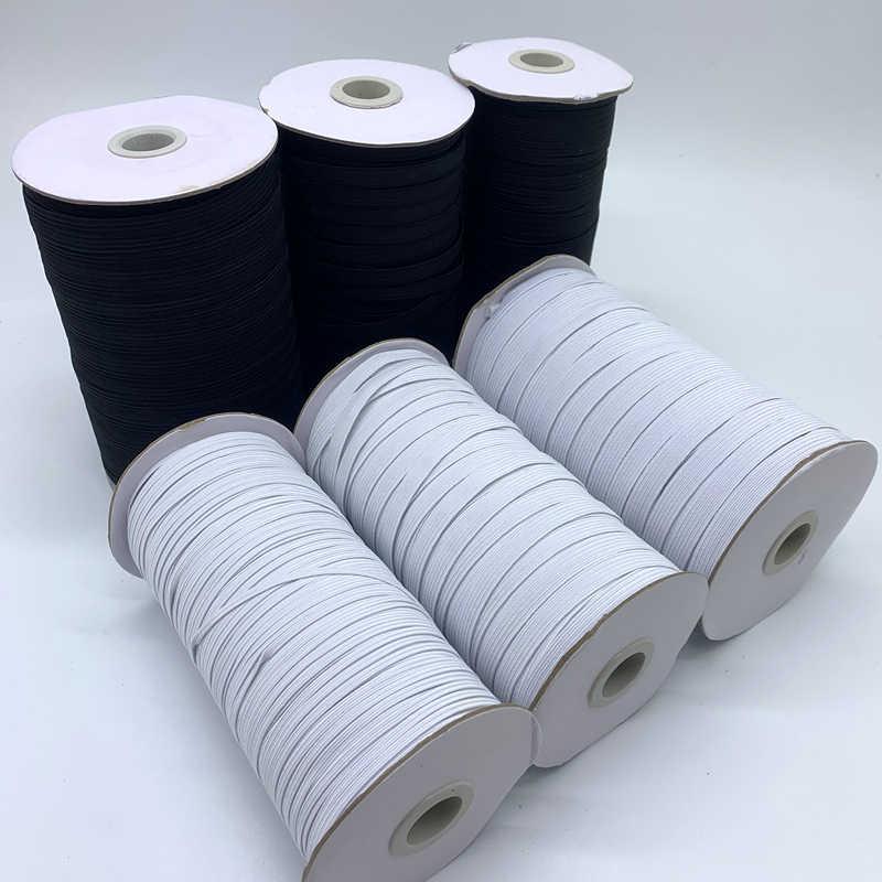 3/6/8/10/12mm 5 yardas/lote cinta elástica de costura de alta elasticidad, banda elástica de Spandex, cinta de ajuste de tela de coser bricolaje, accesorios de ropa