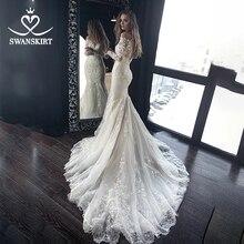 Classic Long Sleeve Mermaid Wedding Dress Sweetheart Appliques Beaded Lace Illusion SWANSKIRT HZ00 Bridal Gown Vestido de novia
