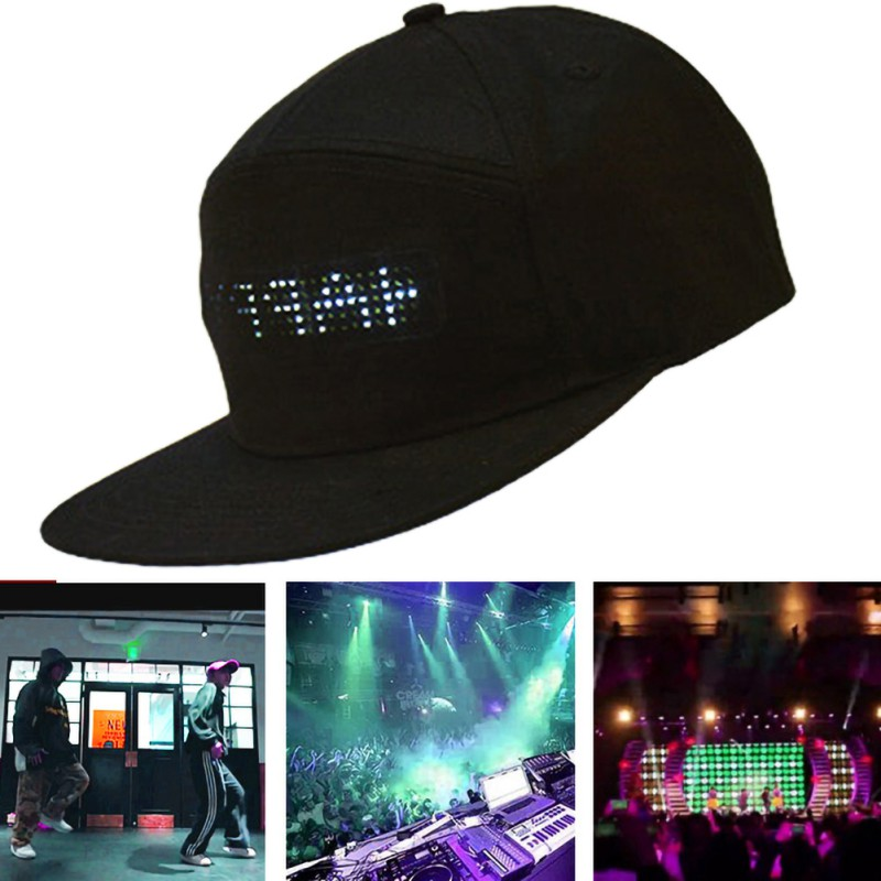 LED Smart Cap Mobile Phone APP Controlled Display Screen Caps Party Club Baseball Sports Hat*