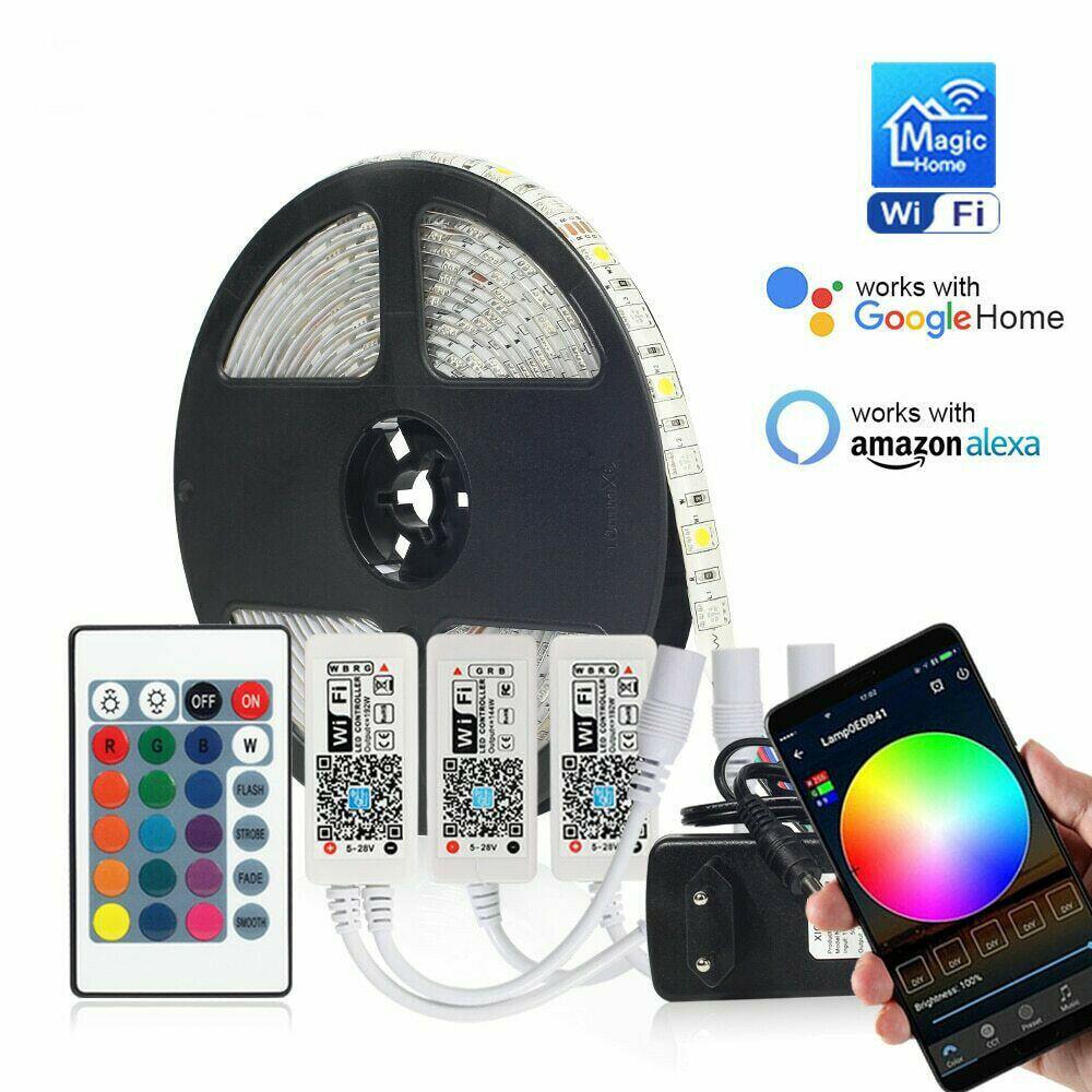 DC 12V Led tira RGB/RGBW/WW casa WIFI 5050 30LED/M cinta Flexible inteligente APP KIT inalámbrico