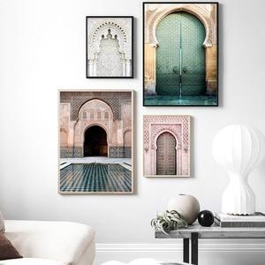 Image 2 - Fas kemer eski kapı tuval boyama İslam bina duvar sanat posterleri Hassan II cami baskı müslüman Modern dekorasyon resim