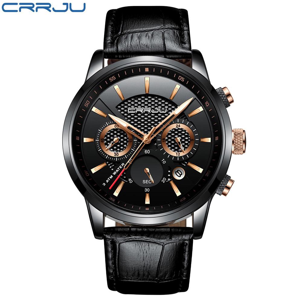 CRRJU, nuevos relojes de moda para hombre, relojes de pulsera analógicos de cuarzo, cronógrafo resistente al agua de 30M, reloj deportivo con fecha Relojes De Correa De Cuero para hombre 15