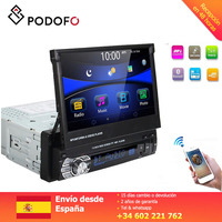 Podofo 1Din Car Audio 7 HD Retractable Touch Screen Car Stereo FM MP5 Player Bluetooth Handsfree Autoradio Multimedia Player