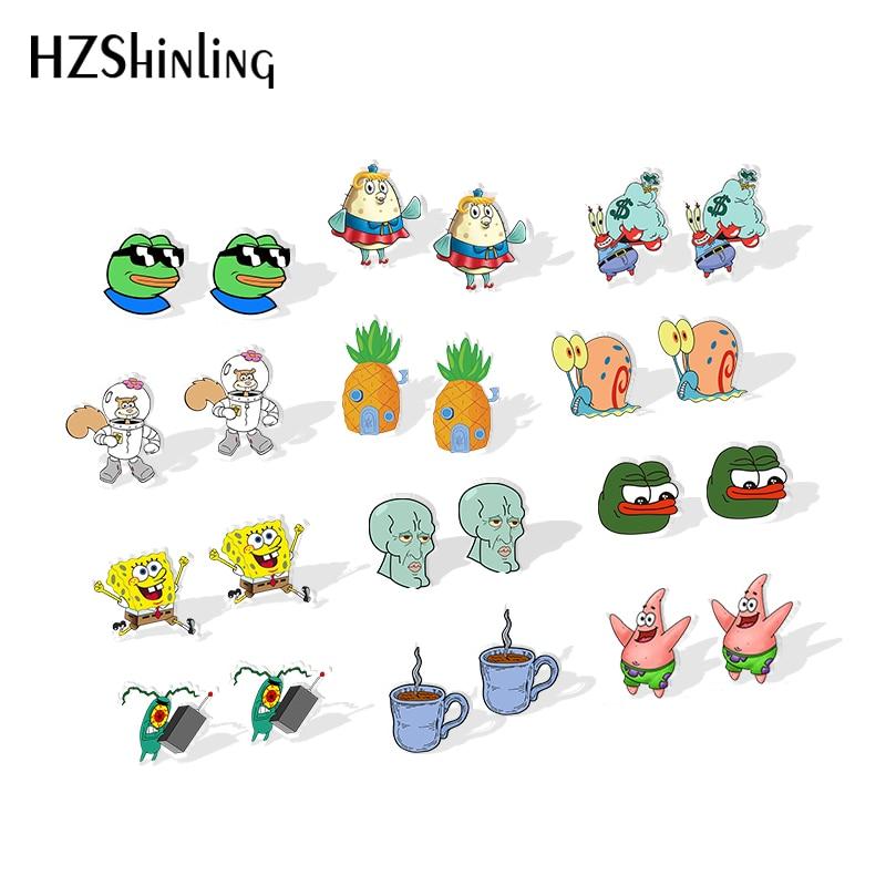 2019 New Pepe Frog Resin Earrings Cute Cartoon Pineapple House Acrylic Earrings Epoxy Round Photo Earring