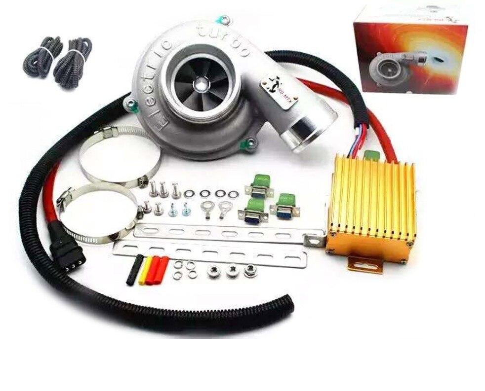 Электрический Турбо Supercharg er комплект тяги мотоцикла Электрический турбокомпрессор воздушный фильтр Впускной для всех автомобилей Повышен... title=