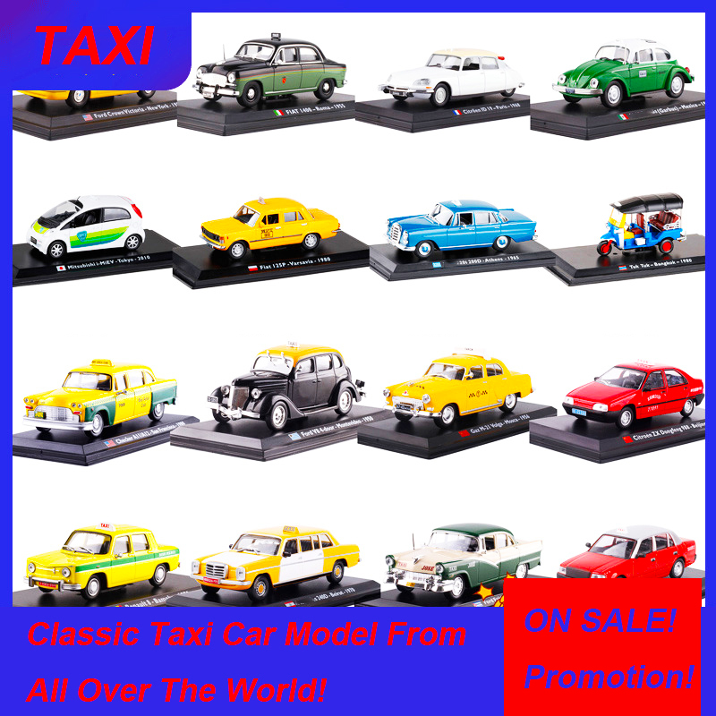 1:43 Scale Diecast Alloy Classic FIAT FORD Checker Gaz Renault Cab Taxi Car Truck Car Model Auto Metal Vehicles Toys Collection